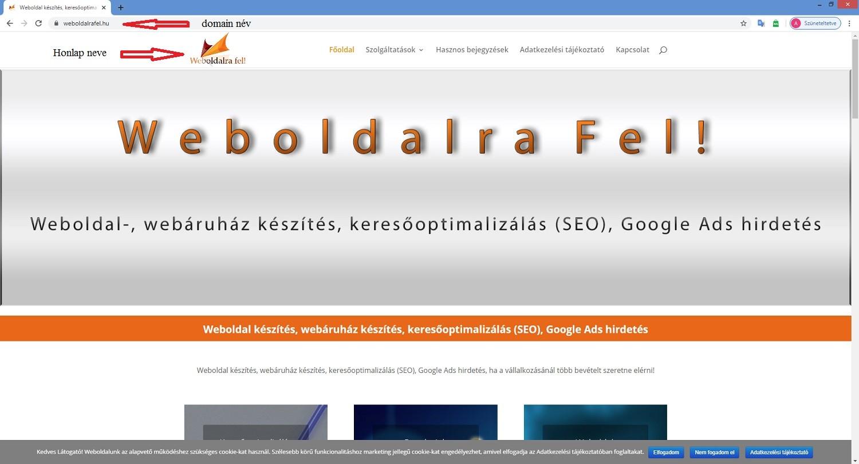 domain név és weboldal név elhelyezkedése